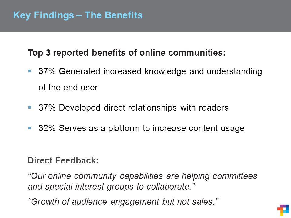 Top 3 reported benefits of online communities:  37% Generated increased knowledge and understanding of the end user  37% Developed direct relationships with readers  32% Serves as a platform to increase content usage Direct Feedback: Our online community capabilities are helping committees and special interest groups to collaborate. Growth of audience engagement but not sales. Key Findings – The Benefits
