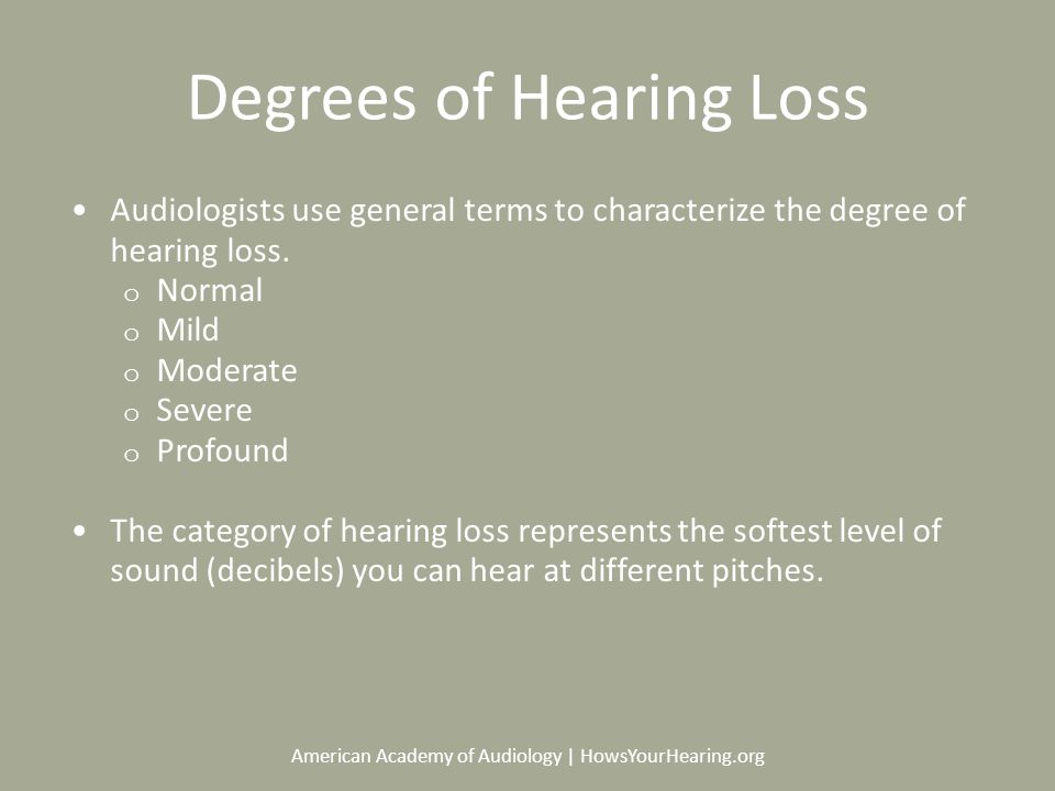 American Academy of Audiology | HowsYourHearing.org Degrees of Hearing Loss Audiologists use general terms to characterize the degree of hearing loss.
