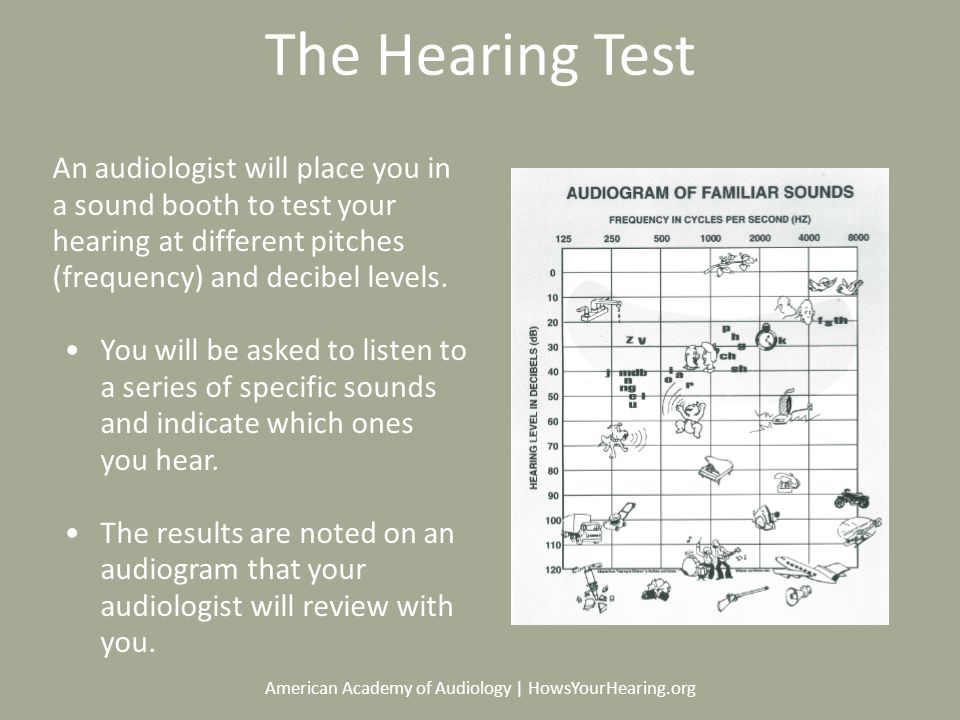 American Academy of Audiology | HowsYourHearing.org The Hearing Test An audiologist will place you in a sound booth to test your hearing at different pitches (frequency) and decibel levels.