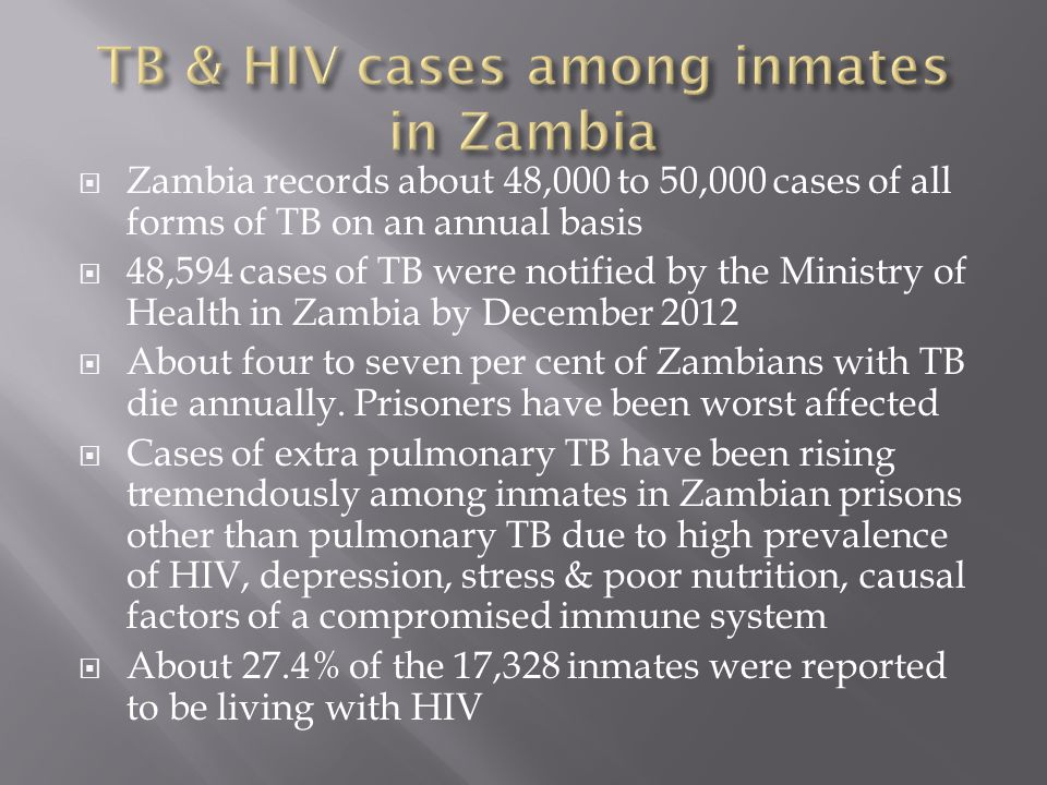  Zambia records about 48,000 to 50,000 cases of all forms of TB on an annual basis  48,594 cases of TB were notified by the Ministry of Health in Zambia by December 2012  About four to seven per cent of Zambians with TB die annually.
