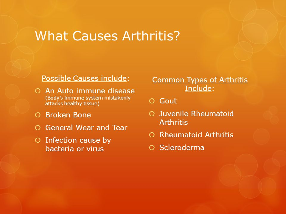 The Nature of Arthritis  Occurs within the joint (area where two bones meet)  Inflammation of one or more joints  Over 100 different types  Protects the joint  Allows it to move smoothly  Absorbs shock  *Arthritis=Breakdown of Cartilage  Without it, bones rub together  Causes pain, swelling (inflammation), and stiffness   Cartilage