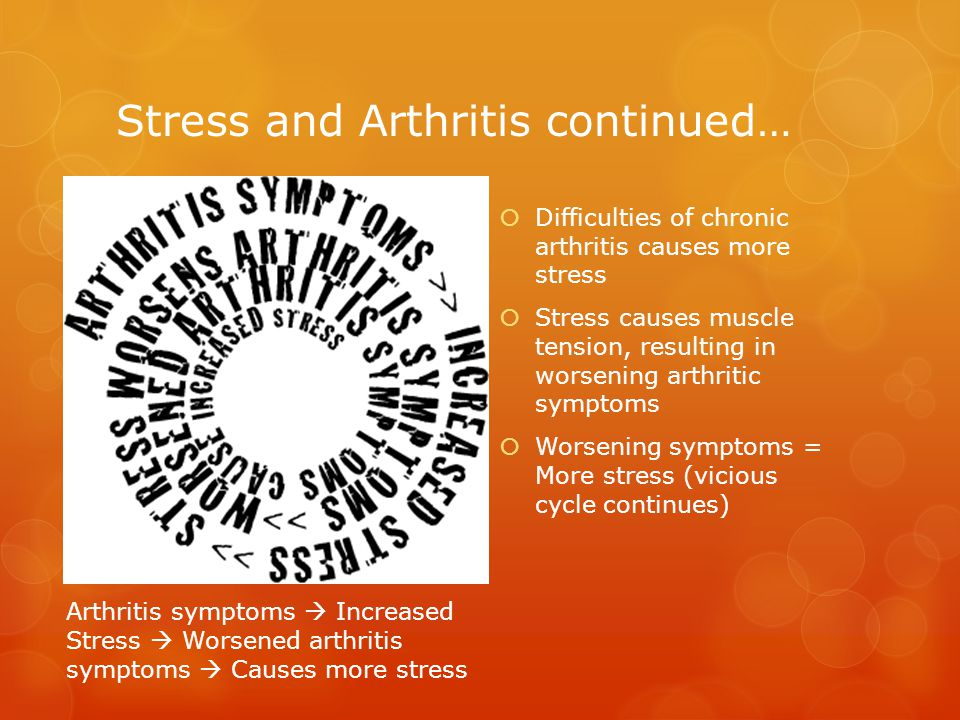 Stress in relation to Arthritis… Studies  Studies in lab rats have shown a relationship to stress and the development of arthritis  People have connected their involvement of arthritis with stress Chronic arthritis adds to the stress of:  Pain  Fatigue  Depression  Dependence (pain mediation)  altered finances, employment  social life  self-esteem and self- image.