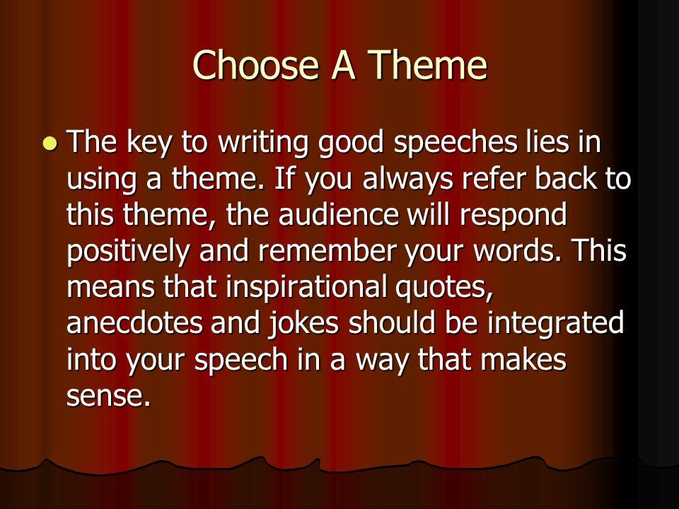 How to write good speeches