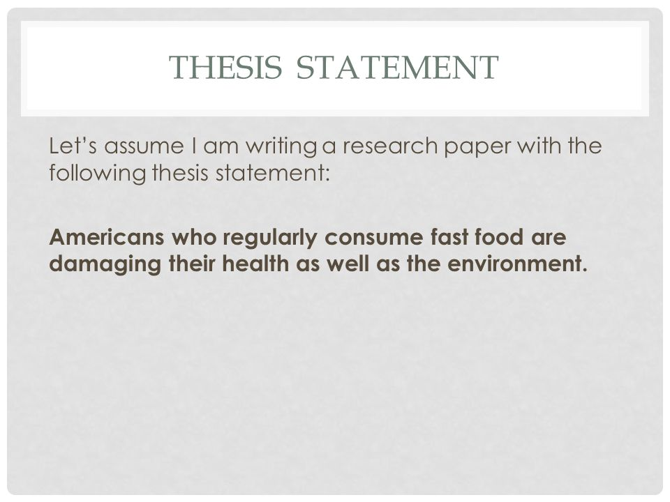 fast food research paper thesis