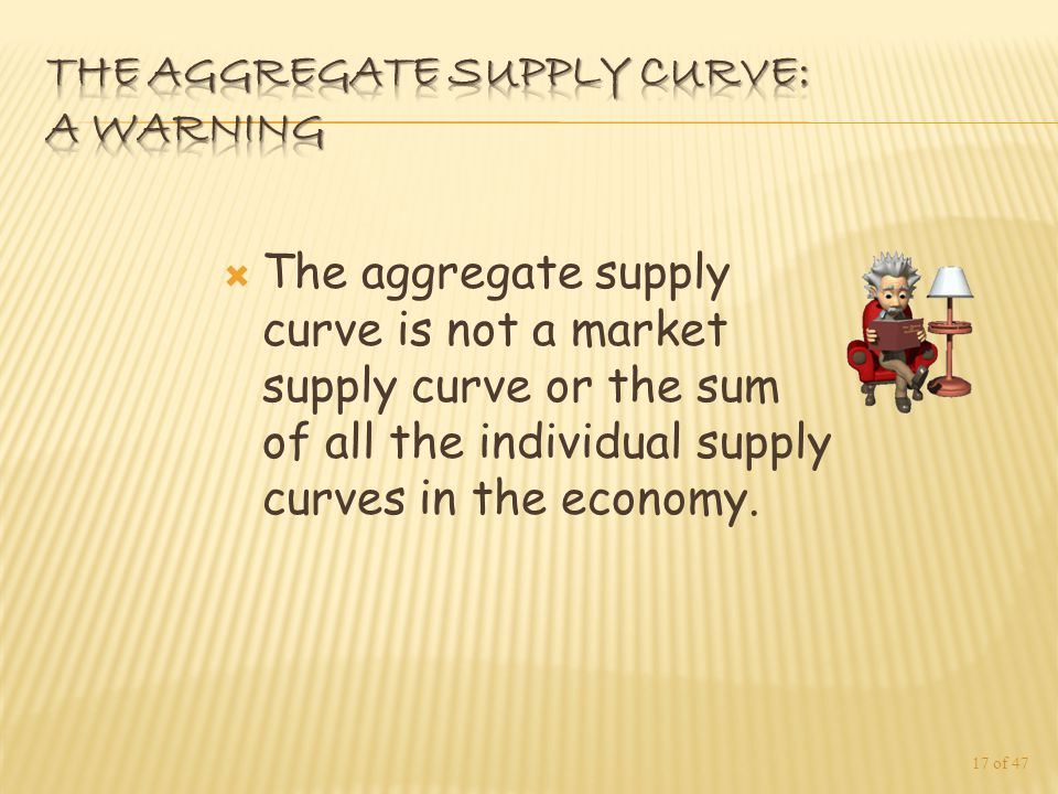  The aggregate supply curve is not a market supply curve or the sum of all the individual supply curves in the economy.