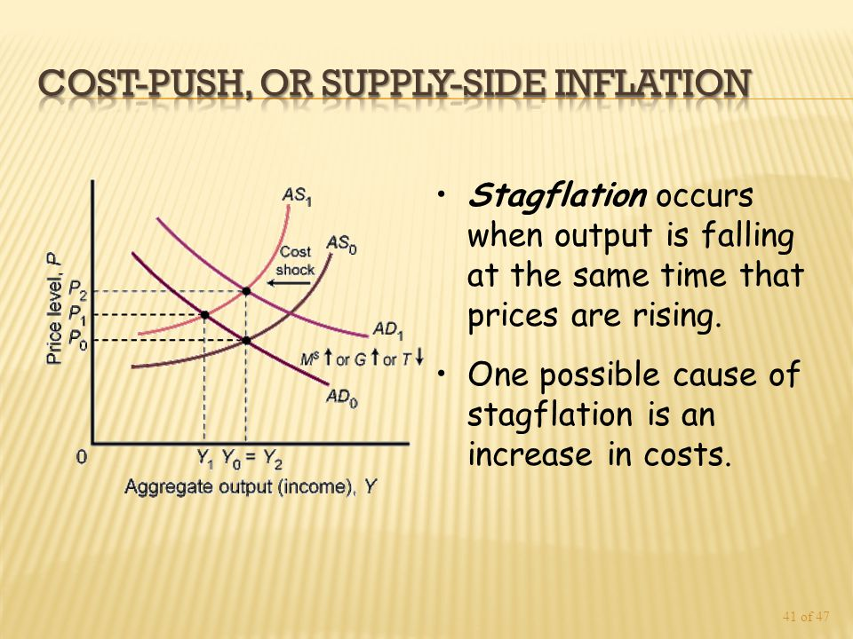 41 of 47 Stagflation occurs when output is falling at the same time that prices are rising.