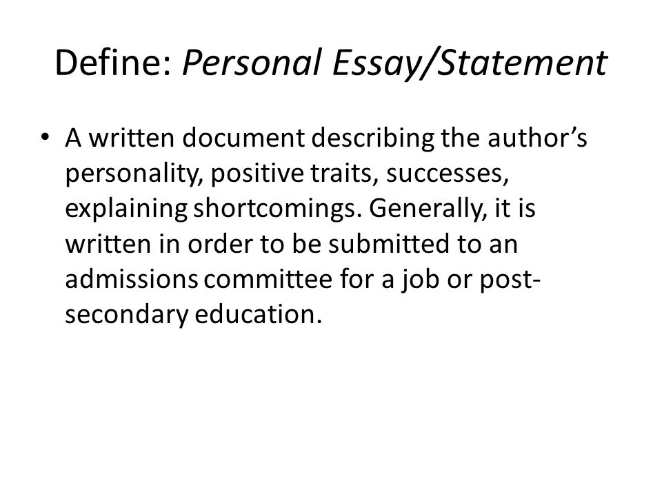 personal essay qualities See what types of personal characteristics college admission officers look for big future logo get started college essay: the.