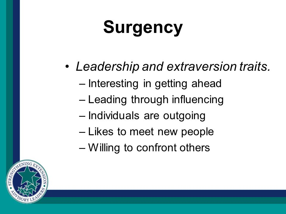 Surgency Leadership and extraversion traits. –Interesting in getting ahead –Leading through influencing –Individuals are outgoing –Likes to meet new p