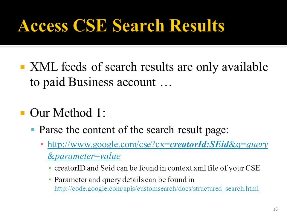 16  XML feeds of search results ...
