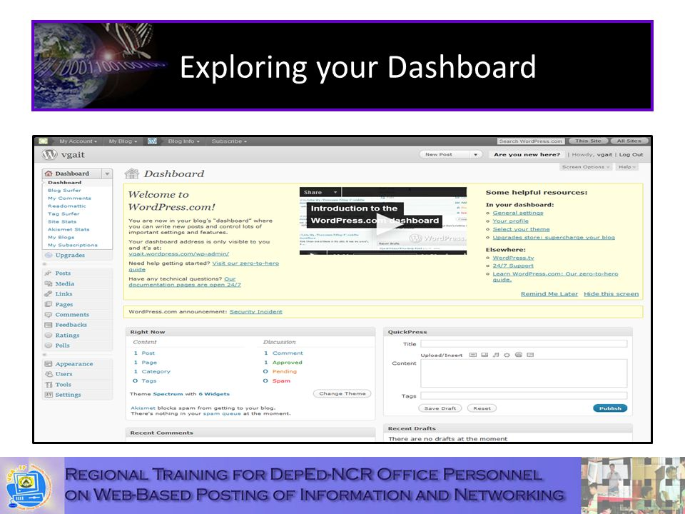 Exploring your Dashboard