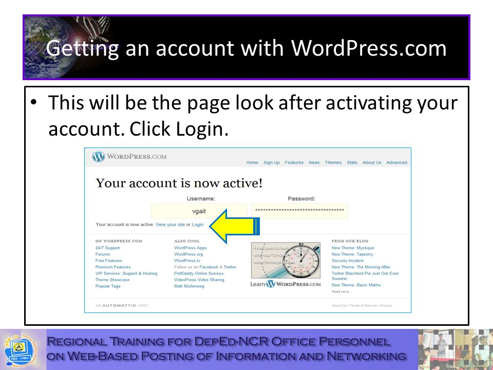 Getting an account with WordPress.com This will be the page look after activating your account.