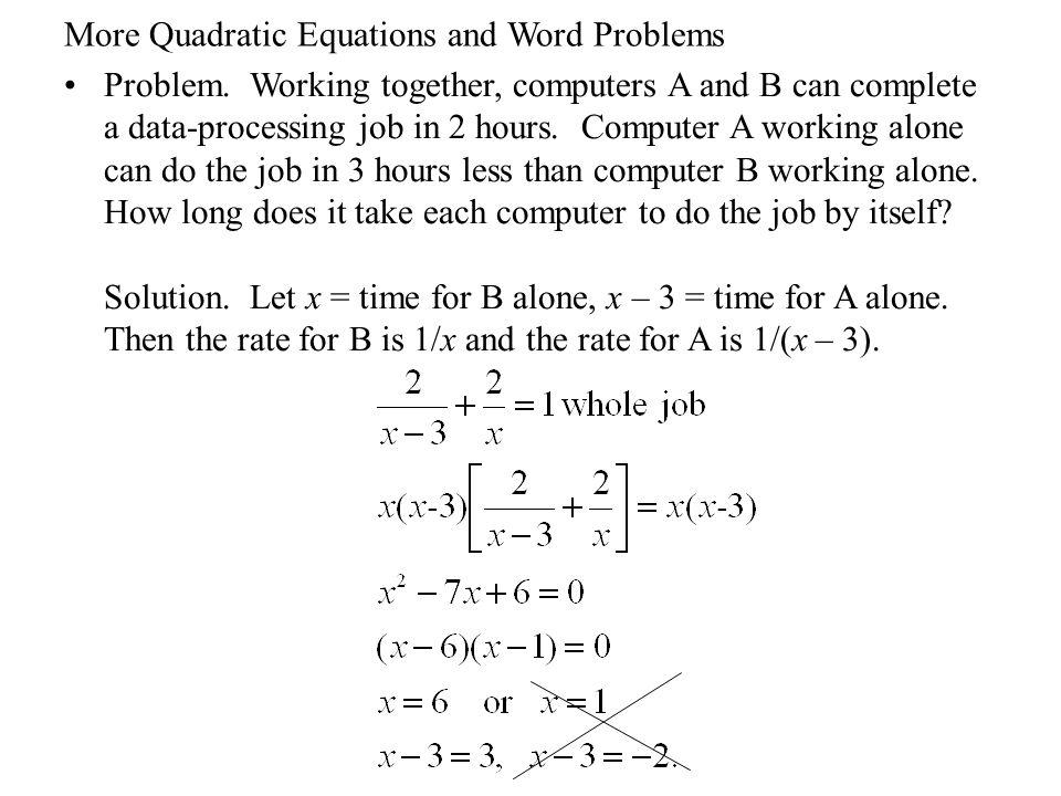 Problem solving with quadratic equations
