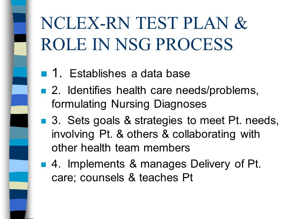 NCLEX-RN TEST PLAN & ROLE IN NSG PROCESS n 1. Establishes a data base n 2.