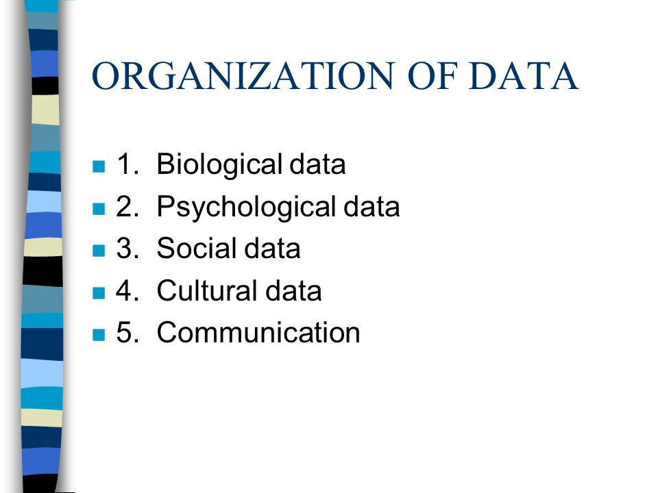 ORGANIZATION OF DATA n 1. Biological data n 2. Psychological data n 3.
