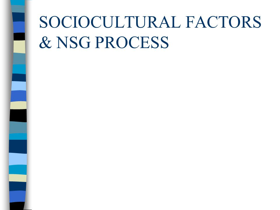 SOCIOCULTURAL FACTORS & NSG PROCESS
