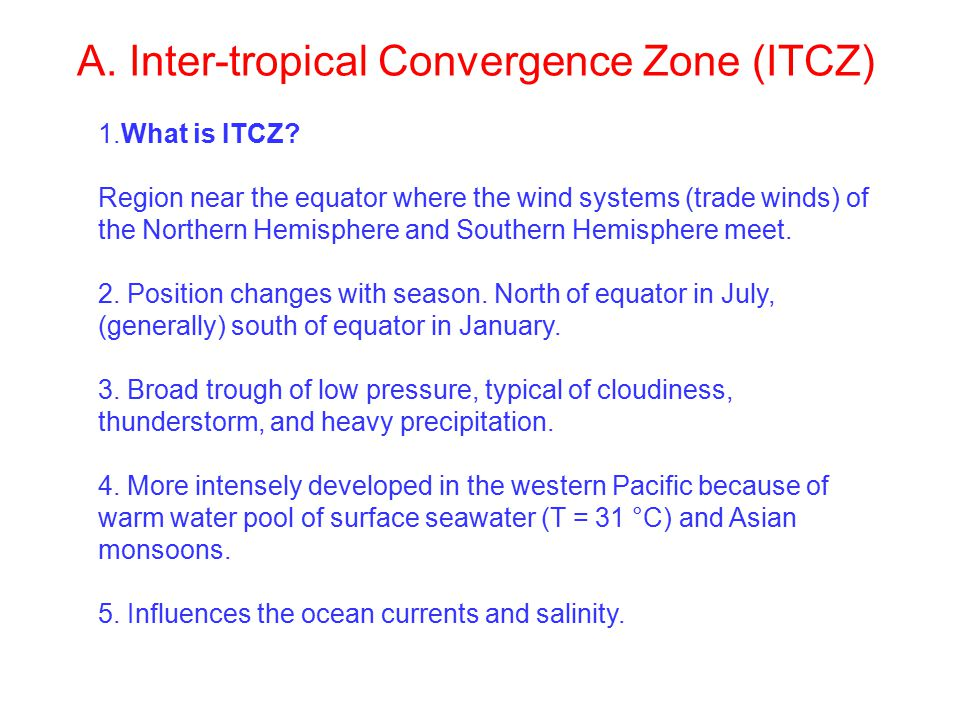 A. Inter-tropical Convergence Zone (ITCZ) 1.What is ITCZ.