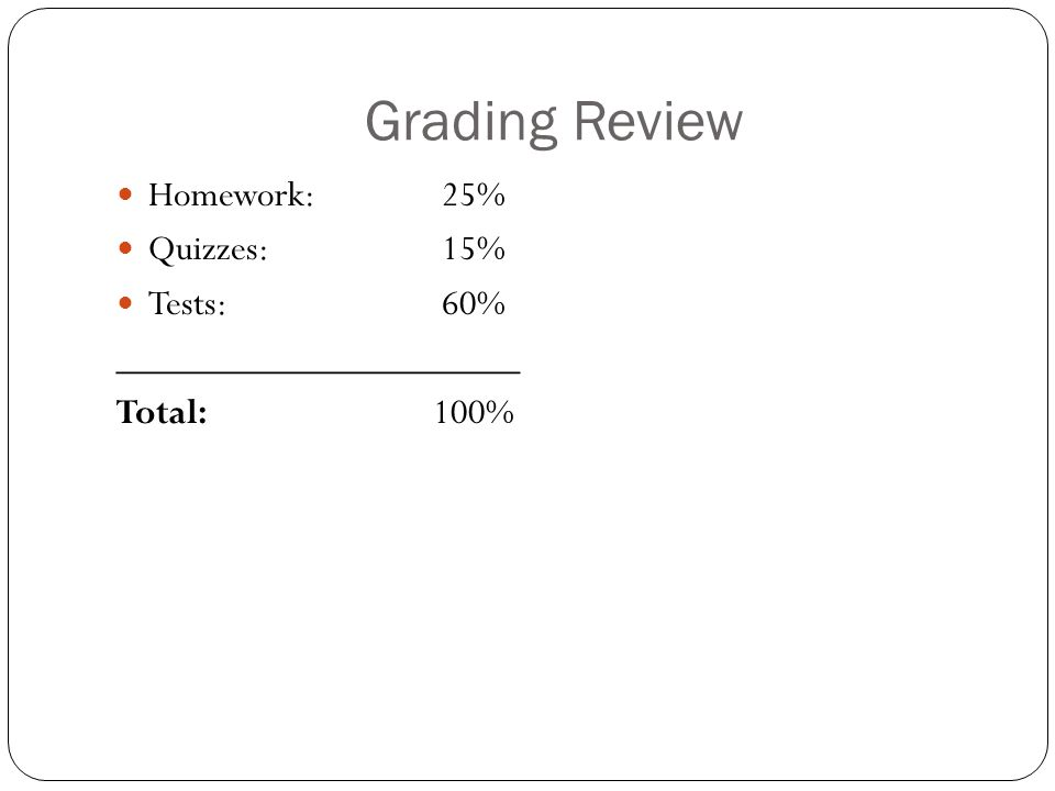 Grading Review Homework: 25% Quizzes: 15% Tests: 60% _____________________ Total:100%