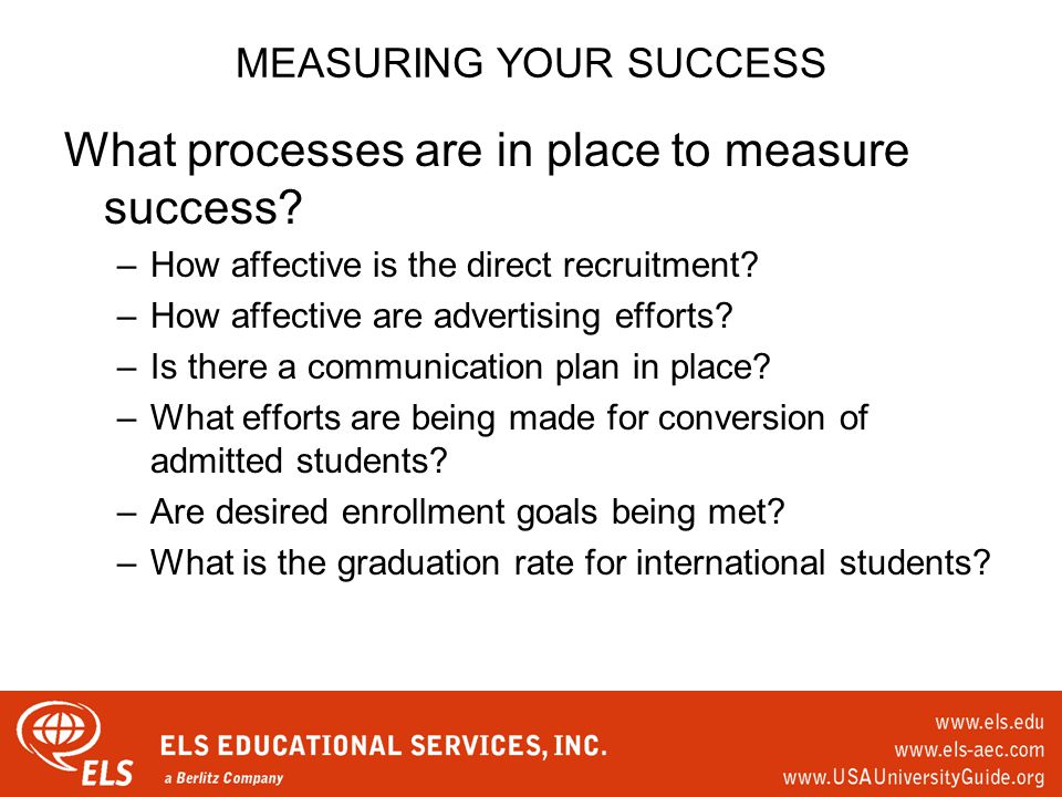 MEASURING YOUR SUCCESS What processes are in place to measure success.