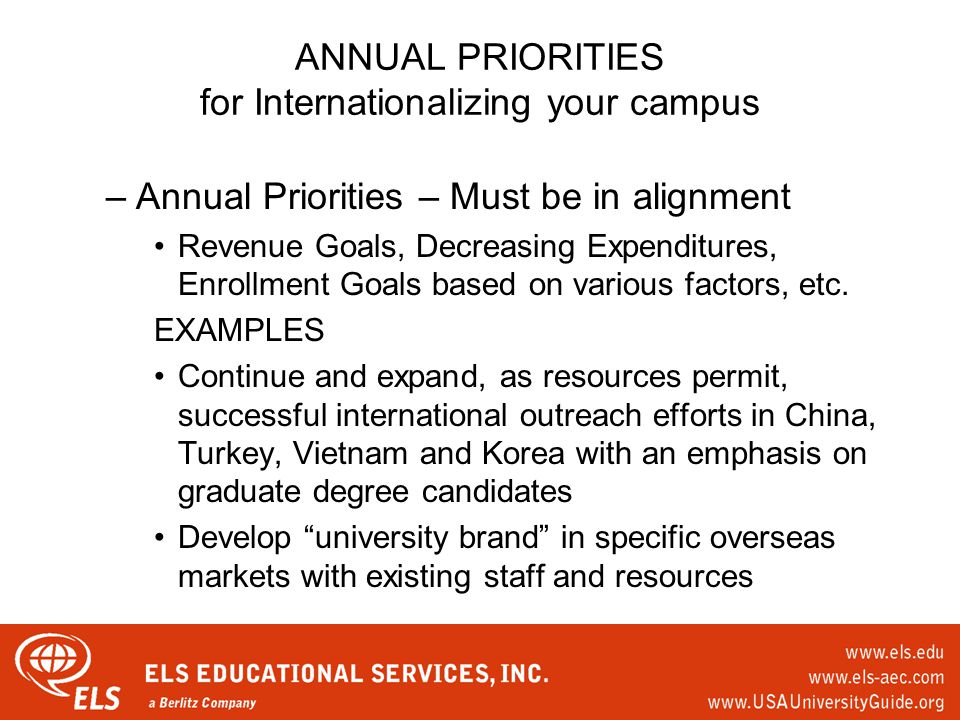 ANNUAL PRIORITIES for Internationalizing your campus –Annual Priorities – Must be in alignment Revenue Goals, Decreasing Expenditures, Enrollment Goals based on various factors, etc.