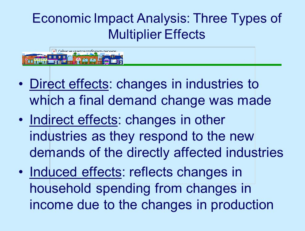 Economic Impact Analysis: Three Types of Multiplier Effects Direct effects: changes in industries to which a final demand change was made Indirect effects: changes in other industries as they respond to the new demands of the directly affected industries Induced effects: reflects changes in household spending from changes in income due to the changes in production