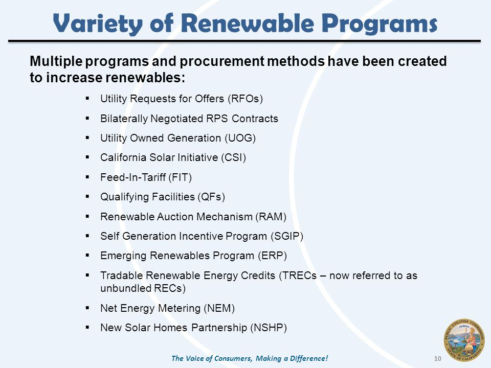 Variety of Renewable Programs Multiple programs and procurement methods have been created to increase renewables:  Utility Requests for Offers (RFOs)  Bilaterally Negotiated RPS Contracts  Utility Owned Generation (UOG)  California Solar Initiative (CSI)  Feed-In-Tariff (FIT)  Qualifying Facilities (QFs)  Renewable Auction Mechanism (RAM)  Self Generation Incentive Program (SGIP)  Emerging Renewables Program (ERP)  Tradable Renewable Energy Credits (TRECs – now referred to as unbundled RECs)  Net Energy Metering (NEM)  New Solar Homes Partnership (NSHP) The Voice of Consumers, Making a Difference.