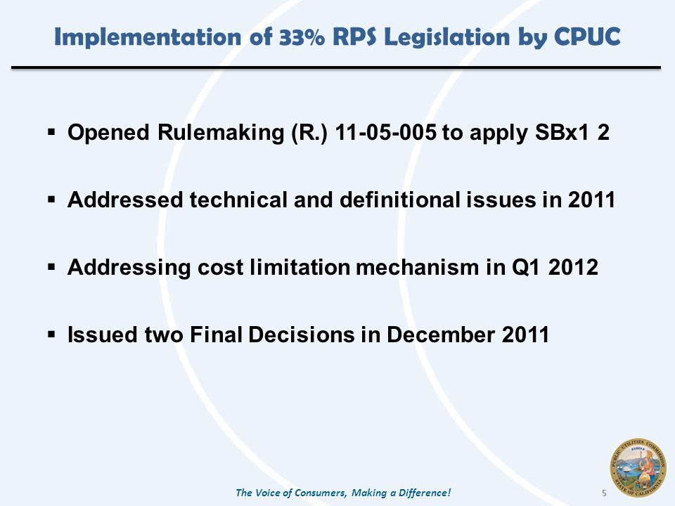Implementation of 33% RPS Legislation by CPUC  Opened Rulemaking (R.) to apply SBx1 2  Addressed technical and definitional issues in 2011  Addressing cost limitation mechanism in Q  Issued two Final Decisions in December 2011 The Voice of Consumers, Making a Difference.