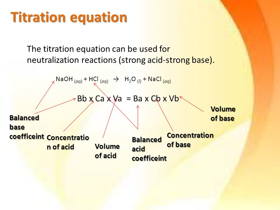 The titration equation can be used for neutralization reactions (strong acid-strong base).