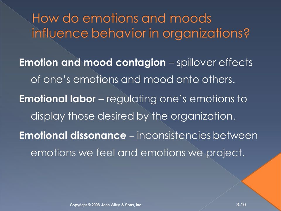 Emotion and mood contagion – spillover effects of one's emotions and mood onto others.