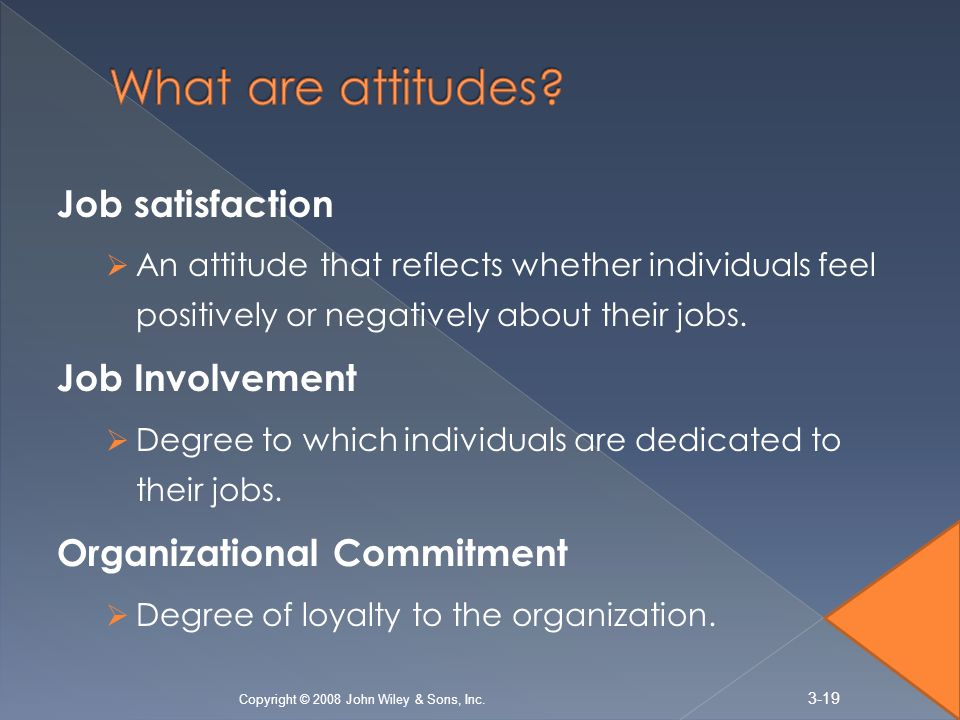 Job satisfaction  An attitude that reflects whether individuals feel positively or negatively about their jobs.