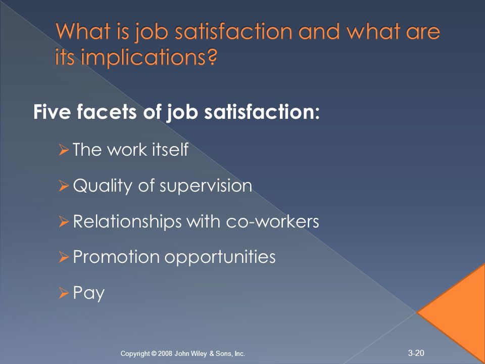 Five facets of job satisfaction:  The work itself  Quality of supervision  Relationships with co-workers  Promotion opportunities  Pay 3-20 Copyright © 2008 John Wiley & Sons, Inc.