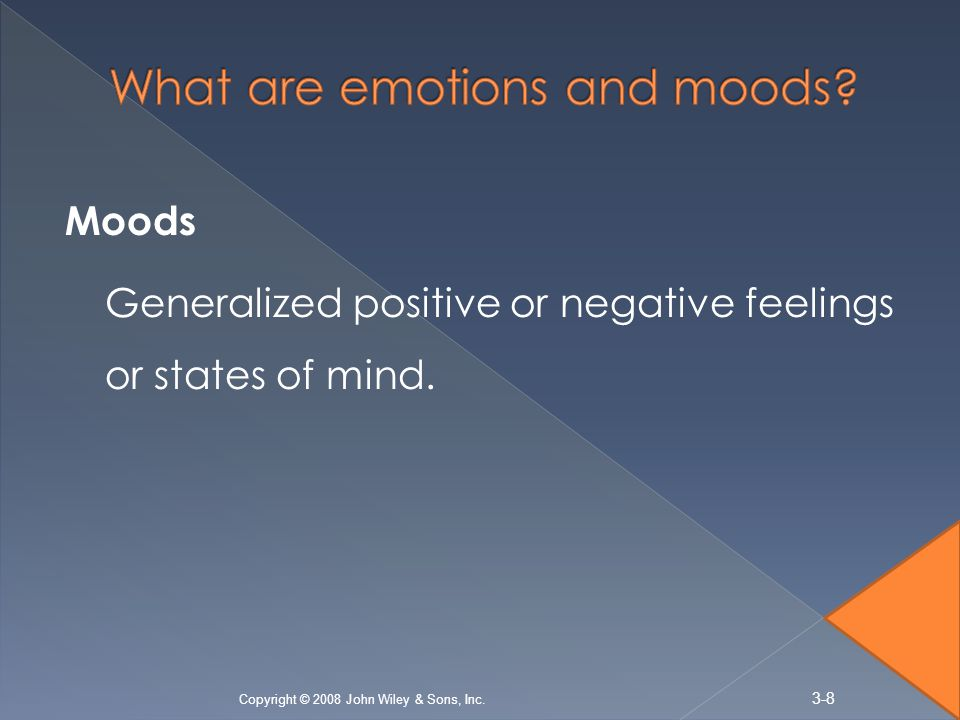 Moods Generalized positive or negative feelings or states of mind.