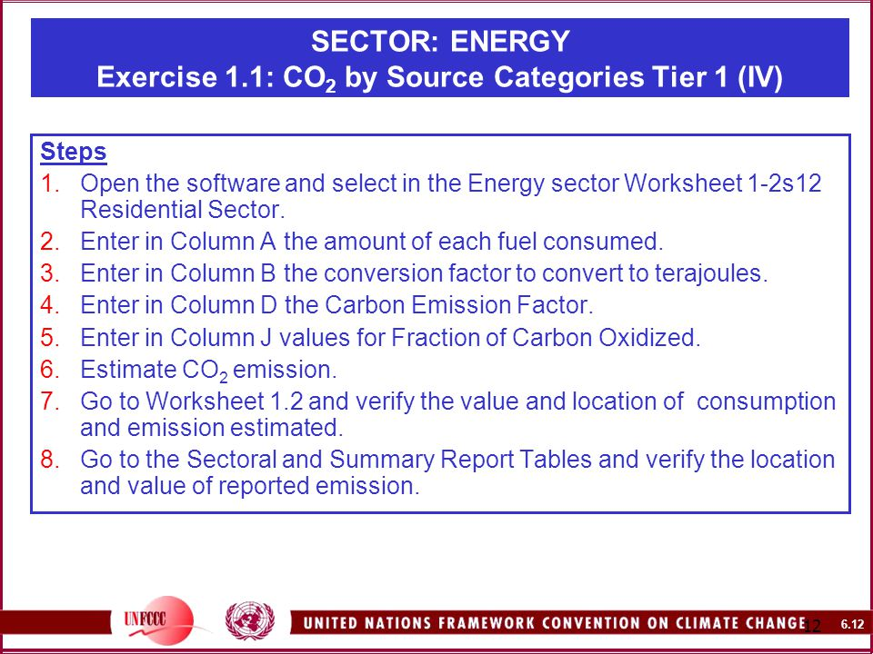 SECTOR: ENERGY Exercise 1.1: CO 2 by Source Categories Tier 1 (IV) Steps 1.Open the software and select in the Energy sector Worksheet 1-2s12 Residential Sector.