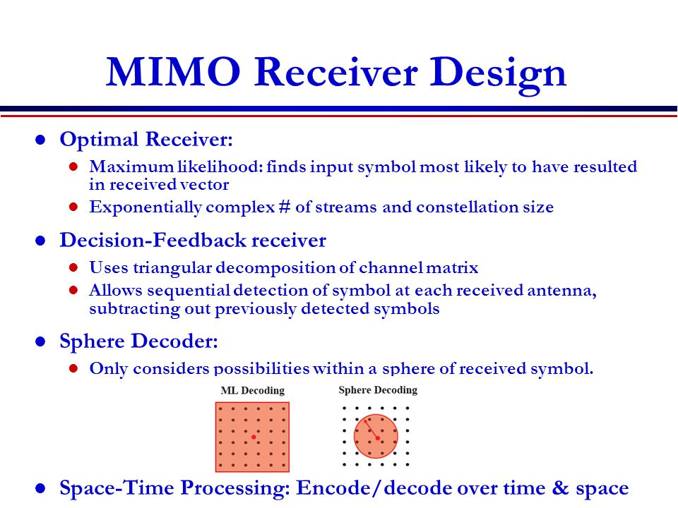 MIMO Receiver Design Optimal Receiver: Maximum likelihood: finds input symbol most likely to have resulted in received vector Exponentially complex # of streams and constellation size Decision-Feedback receiver Uses triangular decomposition of channel matrix Allows sequential detection of symbol at each received antenna, subtracting out previously detected symbols Sphere Decoder: Only considers possibilities within a sphere of received symbol.