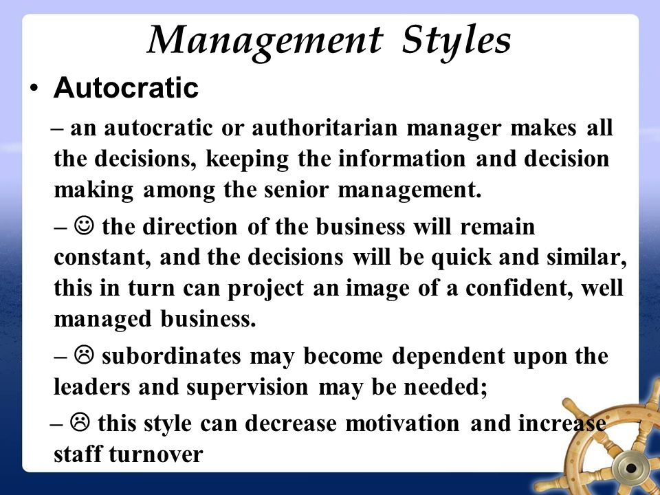 autocratic decision making The best companies in the world are run by enlightened dictators autocratic leadership only autocratic ceos often become the bottlenecks in decision making.