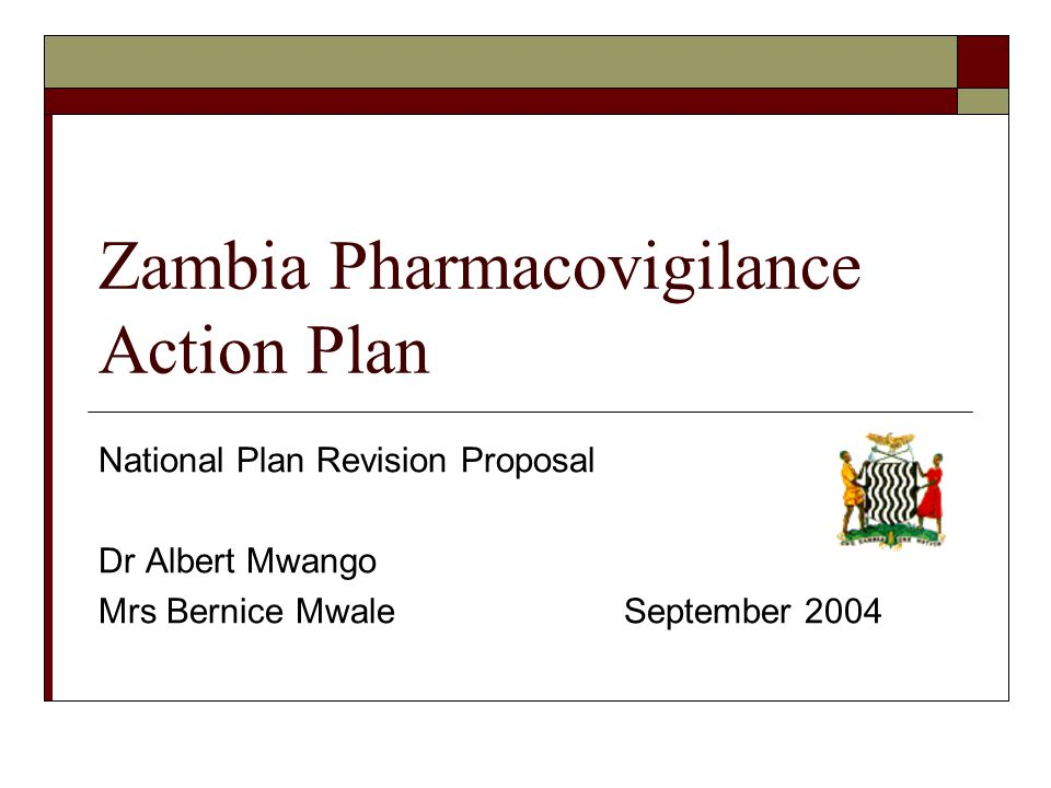 Zambia Pharmacovigilance Action Plan National Plan Revision Proposal Dr Albert Mwango Mrs Bernice MwaleSeptember 2004