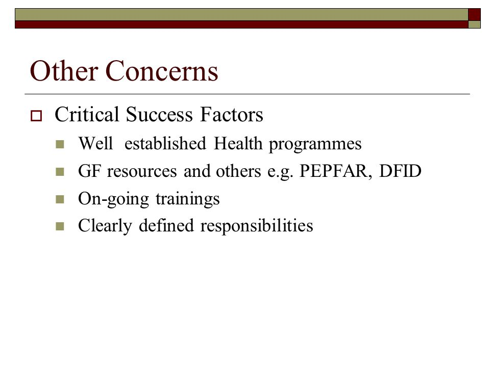Other Concerns  Critical Success Factors Well established Health programmes GF resources and others e.g.