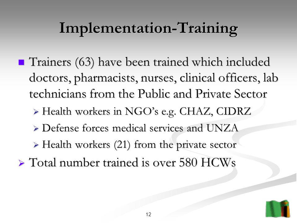 12 Implementation-Training Trainers (63) have been trained which included doctors, pharmacists, nurses, clinical officers, lab technicians from the Public and Private Sector Trainers (63) have been trained which included doctors, pharmacists, nurses, clinical officers, lab technicians from the Public and Private Sector  Health workers in NGO's e.g.