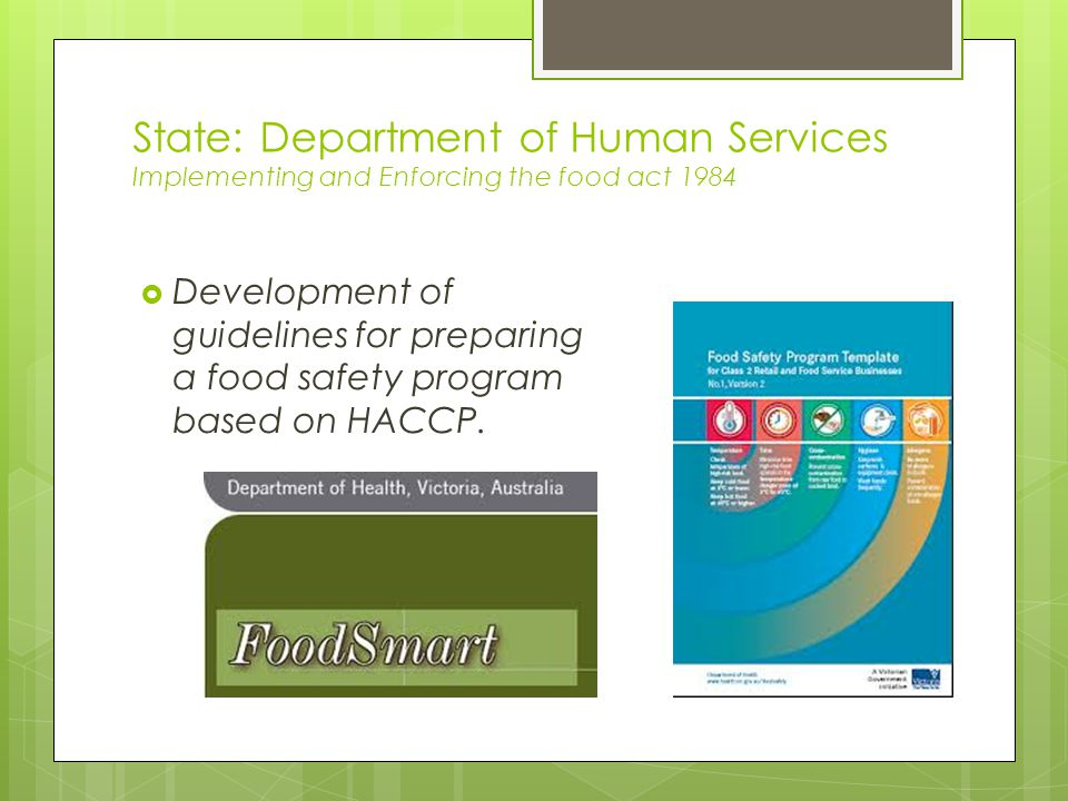 State: Department of Human Services Implementing and Enforcing the food act 1984  Development of guidelines for preparing a food safety program based on HACCP.
