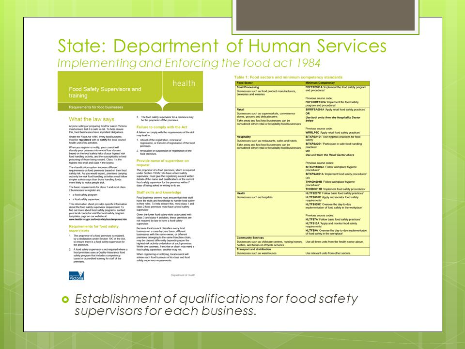 State: Department of Human Services Implementing and Enforcing the food act 1984  Establishment of qualifications for food safety supervisors for each business.