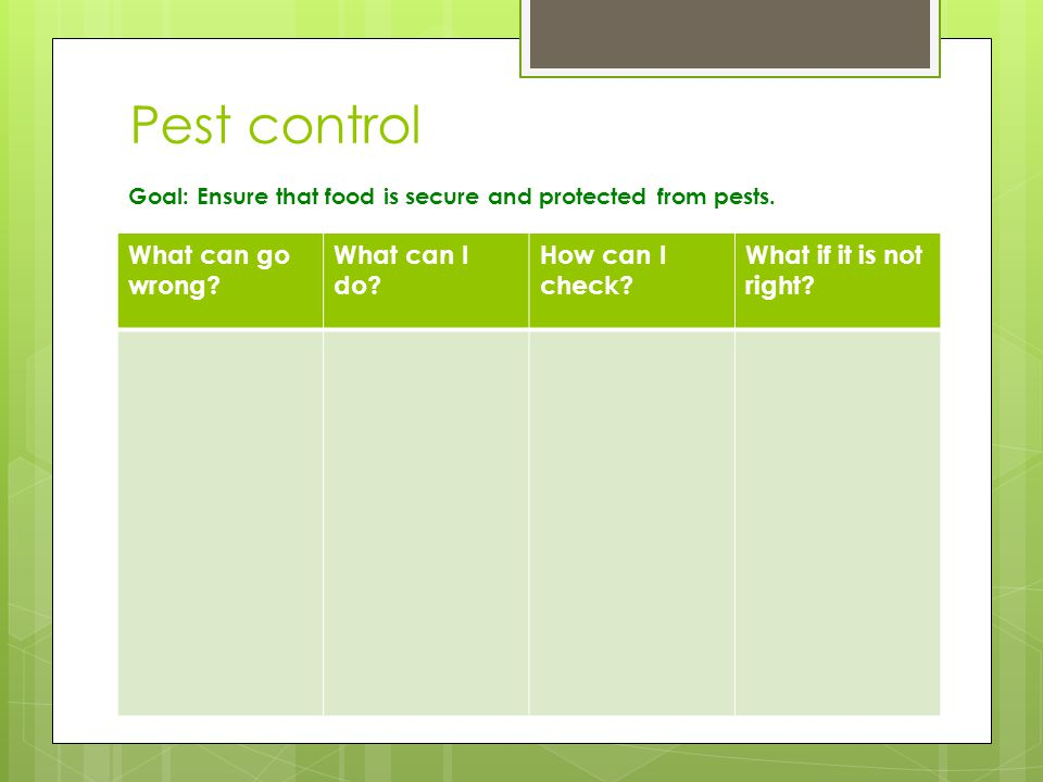 Pest control What can go wrong. What can I do. How can I check.