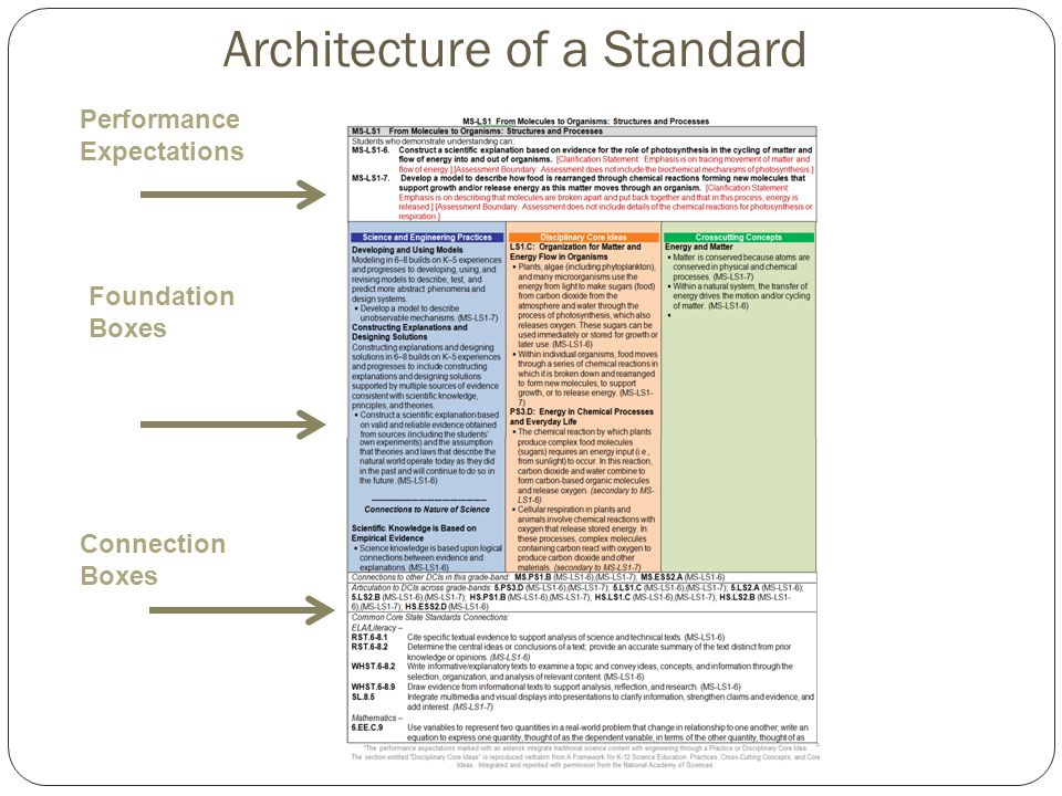 Performance Expectations Foundation Boxes Connection Boxes Architecture of a Standard