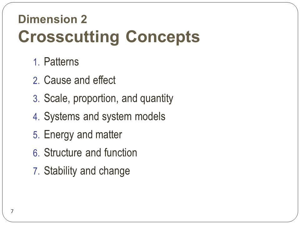 Dimension 2 Crosscutting Concepts 7 1. Patterns 2.