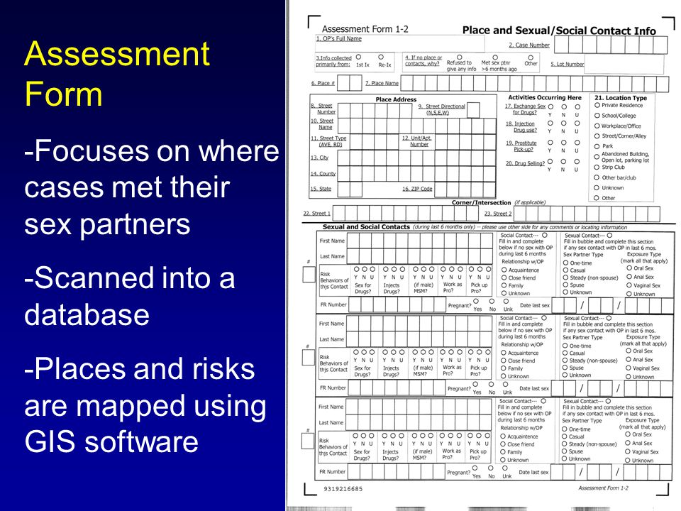 Assessment Form -Focuses on where cases met their sex partners -Scanned into a database -Places and risks are mapped using GIS software