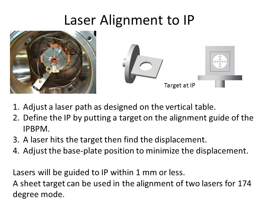 Laser Alignment to IP 1.Adjust a laser path as designed on the vertical table.