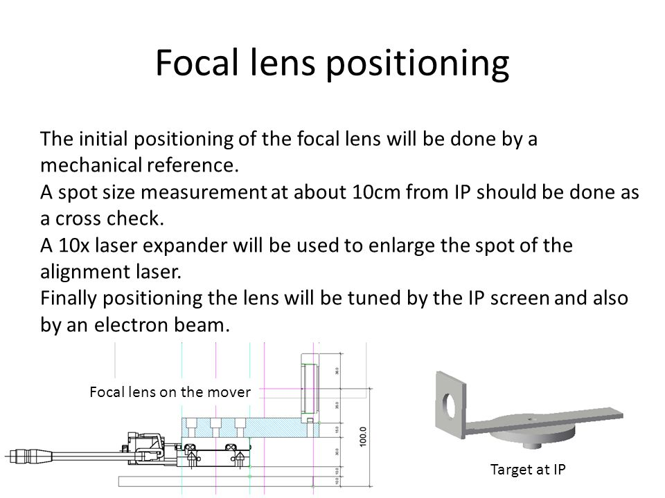 Focal lens positioning The initial positioning of the focal lens will be done by a mechanical reference.