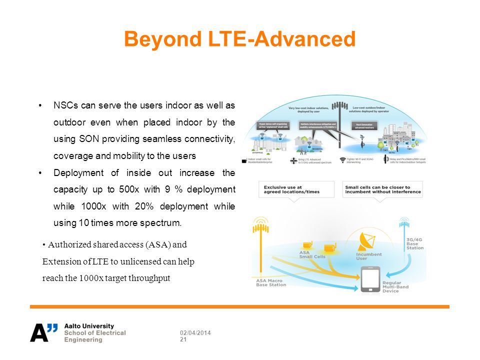 Beyond LTE-Advanced 02/04/ NSCs can serve the users indoor as well as outdoor even when placed indoor by the using SON providing seamless connectivity, coverage and mobility to the users Deployment of inside out increase the capacity up to 500x with 9 % deployment while 1000x with 20% deployment while using 10 times more spectrum.