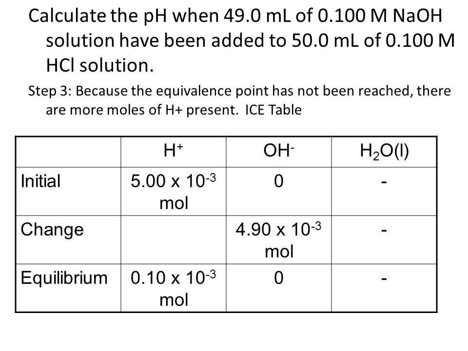 Calculate the pH when 49.0 mL of M NaOH solution have been added to 50.0 mL of M HCl solution.