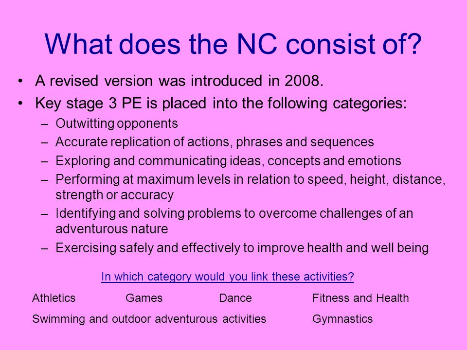 What does the NC consist of. A revised version was introduced in