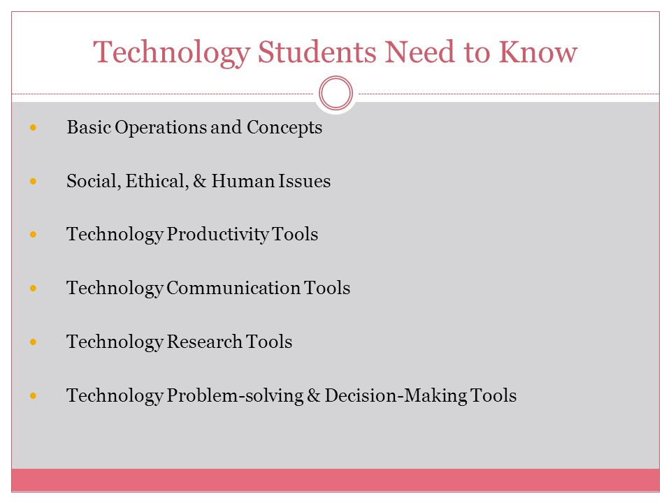 Technology Students Need to Know Basic Operations and Concepts Social, Ethical, & Human Issues Technology Productivity Tools Technology Communication Tools Technology Research Tools Technology Problem-solving & Decision-Making Tools