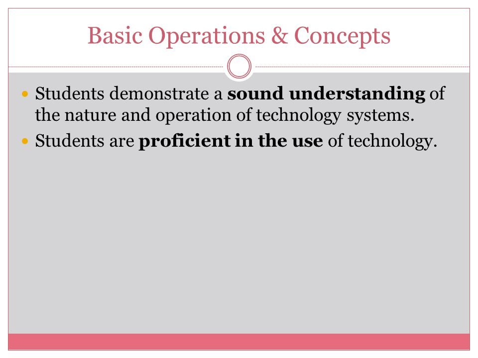 Basic Operations & Concepts Students demonstrate a sound understanding of the nature and operation of technology systems.